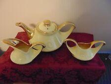 Vintage 4 Pc Pearl China Co Yellow 22 K Gold Handled Tea Set