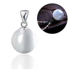 Round White Moonstone Cat Eye Pendant Silver Filled Fit Women Necklace