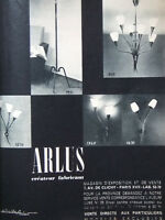 PUBLICITÉ PRESSE 1958 LUMINAIRES ARLUS LAMPADAIRE APPLIQUE LUSTRE - ADVERTISING