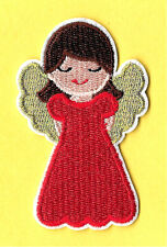 Angel In Red - Girl -  Christmas - Embroidered Iron On Applique Patch