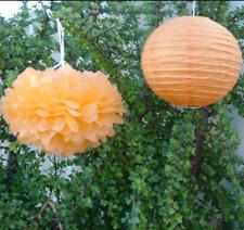 8x orange paper pom poms paper lanterns birthday wedding baby shower party decor