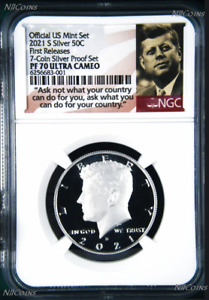 2021 S Proof SILVER Kennedy Half Dollar 50c NGC PF70 UC FR 7-Coin SET Version