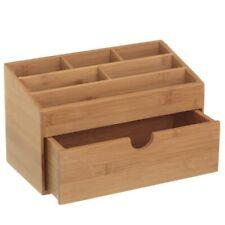 2255388-bakaji Organizer portaoggetti da scrivania in legno di Bambu' con 6 scom