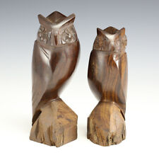 Pair of Hand carved hard wood Owls, Mid century.