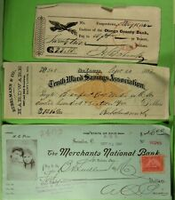 100 different checks 1842 to 1960s, nice variety with Handbook of Check Collecti