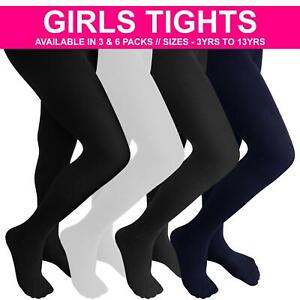 3 Pack Girls Tights School Super Soft Cotton Rich Back 2 School Age 3 – 13 Years