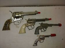 4 Vintage 50s Mattel Fanner Shootin' Shell,Halco Buffalo Bill,Smoky,Star Cap Gun