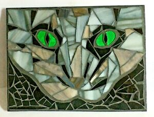 M053 Glass Mosaic Wall Art Picture 20cm x 15cm Abstract Tabby Cats Eyes