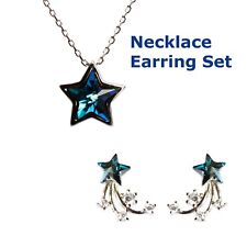 Allgala Fashion S925 Sterling Silver Blue Sapphire Lucky Star Necklace Earring S