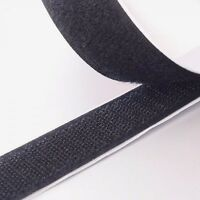"1"" Black Self Adhesive Hook and Loop Sticky Adhesive Backed Tape 10 ft. Roll USA"