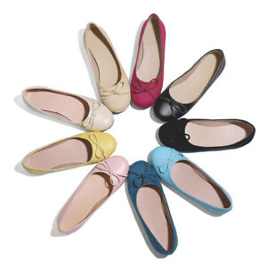 Women's Synthetic Leather Round Toe Flats Suede Fabric Shoes AU Size 2~17