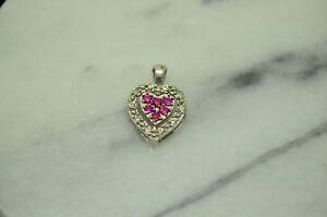 925 STERLING SILVER SMALL HEART PENDANT CHARM W/ DIAMONDS & PINK RUBIES #X22799