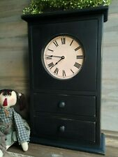 NEW! Handcrafted Primitive Colonial Farmhouse Black HOMESTEAD CLOCK With Drawers