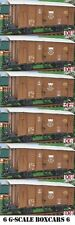 SIX (yes 6) G SCALE 45mm GAUGE RAILWAY BOX CAR BROWN CARGO BOXCAR GARDEN TRAIN