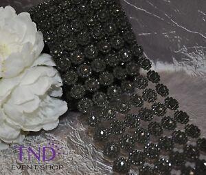 "3.75"" x 1 YD/3 YDS/10 YDS FLOWER DIAMOND MESH WRAP ROLL RHINESTONE BLING RIBBON"