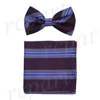 New Men's Pre-tied Bow tie & hankie brown blue stripes striped formal prom