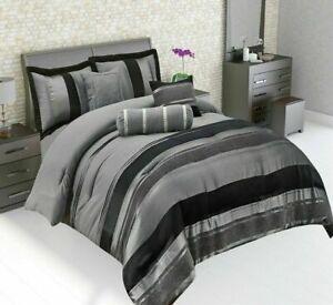 New Modern Glittery Strip Design 7PCS Complete Bedding Set & cushion cover