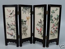 Small Vintage Chinese Table Screen - Watercolor Painting On Soapstone Panels VR