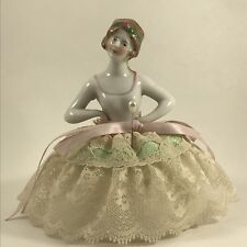 Vintage Porcelain Half Doll with White Green Ivory Lace Pin Cushion W10
