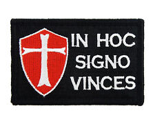 Templar Shield In Hoc Signo Vinces B&W Hook & Loop Embroidered Morale Tags