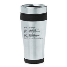 Stainless Steel Insulated 16 oz Travel Coffee Mug Cup Funny Grammar Key