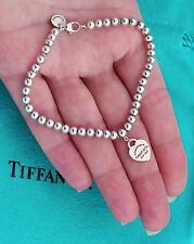 Tiffany & Co Return To Tiffany Rubedo Mini Heart Tag Silver Bead Bracelet