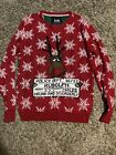 Ugly Christmas Sweater Drunk Rudolph Size Medium