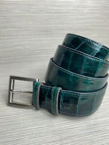 Size 34 Emerald Green Crocodile / Alligator Skin Handmade Belt