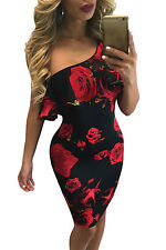 Abito cono aperto stampato aderente Nudo scollo gonna Print Mini Bodycon Dress S