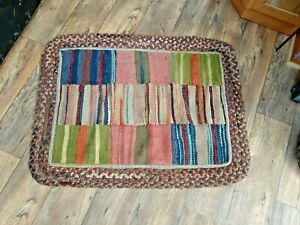 Antique Primitive braided rug patch work crazy pattern country farm house