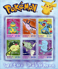 Antigua & Barbuda 2002 MNH Water Pokemon 6v M/S Remoraid Quagsire Stamps