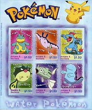 Antigua & Barbuda 2002 MNH Water Pokemon 6v M/S Remoraid Quagsire Stamps