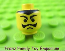 LEGO Minifigure HEAD Black Moustache Frown Pointed Eyebrows Body Part #H38