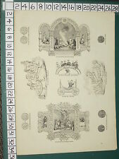 1845 PRINT ~ SAXON EMBLEMS NOVEMBER BAYEUX TAPESTRY WHEEL BED SILVER PENNY COINS