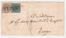 FRANCOBOLLI 1855 STATO PONTIFICIO 1 BAJ + 4 SU LETTERA DA VITERBO Z/5503