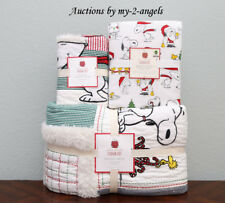 Pottery Barn Kids PEANUTS HOLIDAY Twin Quilt + Sham + Sheet Bedding Set *Snoopy