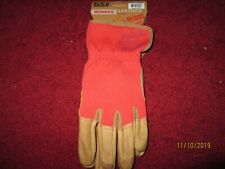 WOMEN,S  100% LEATHER PADDED PALM GLOVES RED/BROWN MEDIUM