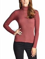 KOGMO Women's Long Sleeve Fitted Turtle Neck Ribbed Sweater Top SML
