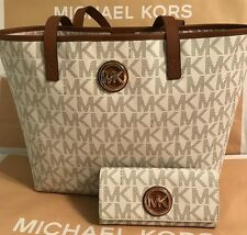 Michael Kors Signature Jet Set Travel Tote MD w/ Matching Wallet~VANILLA NWT
