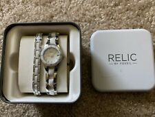 Relic by Fossil Quartz Watch Stainless Steel White Resin ZR11894 25mm Womens
