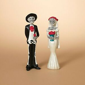 New Set of 2 Day Of The Dead Bride and Goom Figures 2430560