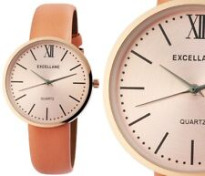Damen Armbanduhr Rosa/Rosegold/Peach Kunstlederarmband 1900112 von Excellanc