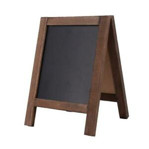 Small Wood A-Frame Double-Sided Chalkboard Brown Table Message Board Home Office