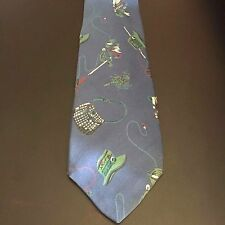GAP Blue Fly-fishing Lures & Rod Themed Men's Classic Neck Tie 100% Rayon