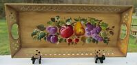 ANTIQUE/VINTAGE RETICULATED TOLEPAINTED HAND PAINTED FRUIT NASHCO METAL TRAY