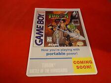 Turok Battle of Binosaurs Nintendo Game Boy Vidpro Promotional Display Card ONLY