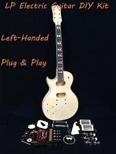 238DIY Left-Handed,Solid Wood+Flame Maple Veneer Body Electric Guitar DIY Kit