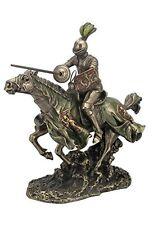 "12.5"" Jousting Armored Knight w/ Lion Emblem Medieval Statue Sculpture Horse"