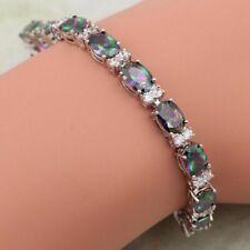 """Rainbow Mystic Topaz Bracelet 925 Sterling Silver 7-7.7"""" Women Fashion Jewelry"""