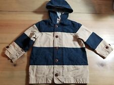 Baby Gap 4 Years Toddler Zippered Button Jacket w/hood striped navy tan